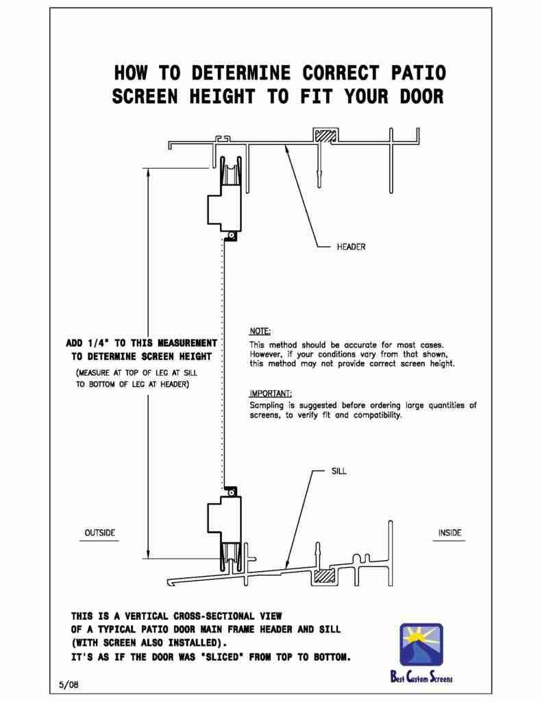 cross section of how to measure sliding screen door