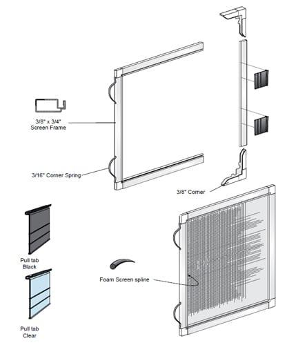 "Window Screens 3/8"" x 3/4"" for windows"